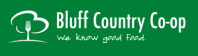 The logo for Bluff country Co-op. Green background depicting a tree with a fork for a trunk.