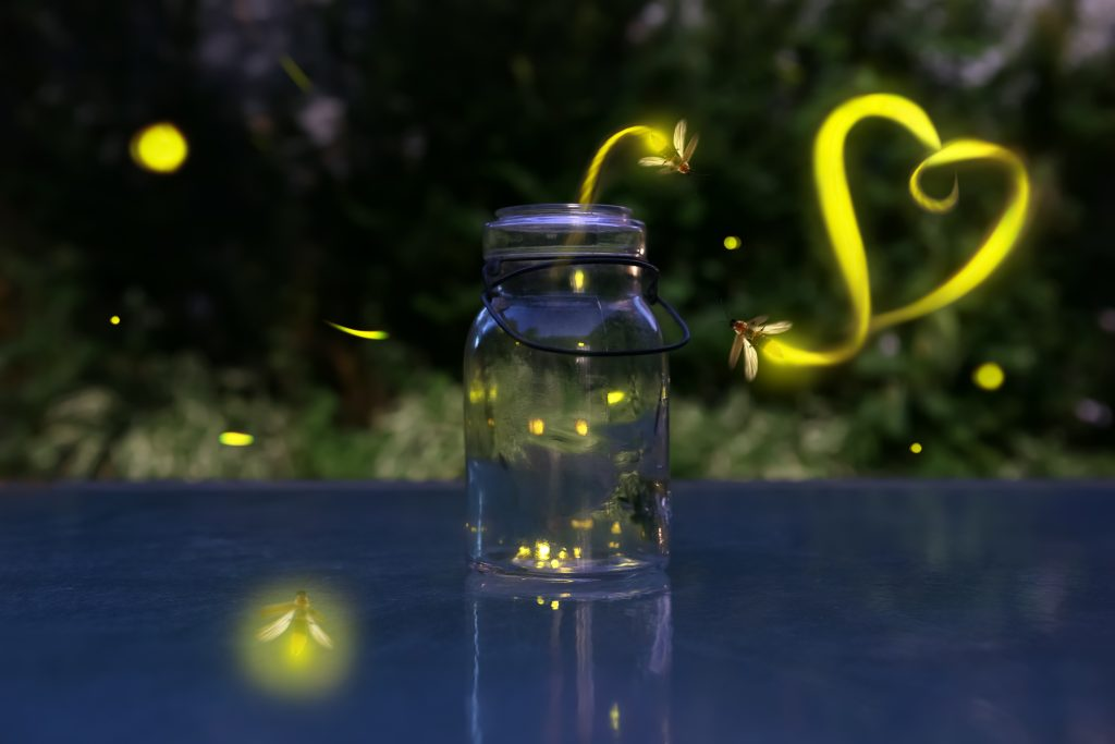 Glowing Fireflies around a jar, the light they emit leaves trails, one of which is in the shape of a heart.