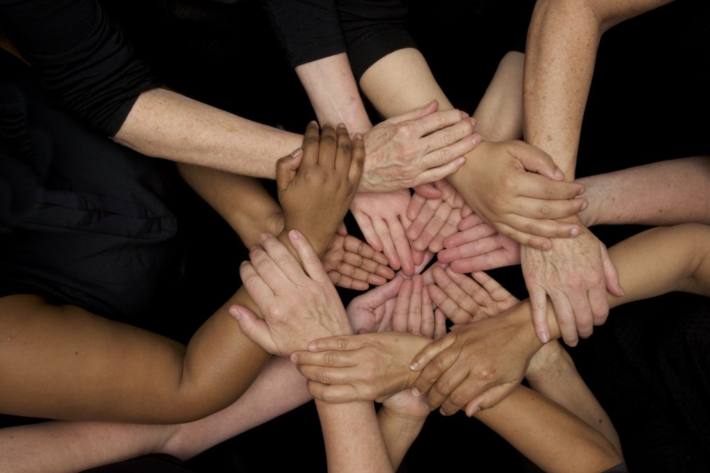 diversity many diverse women's hands symbolize unity and empowerment