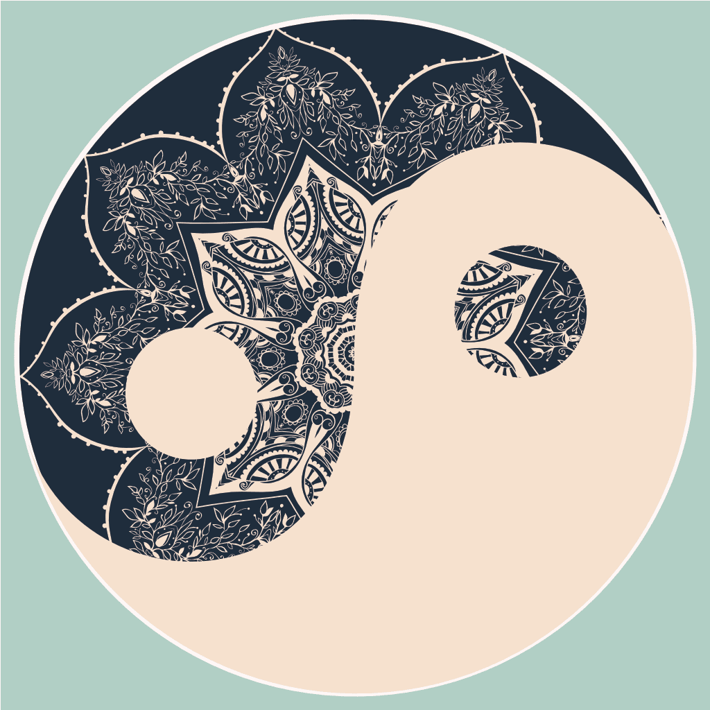 Yin Yang in navy and cream. The navy parts have an image of a lotus mandala peaking through. The background is in a light teal.