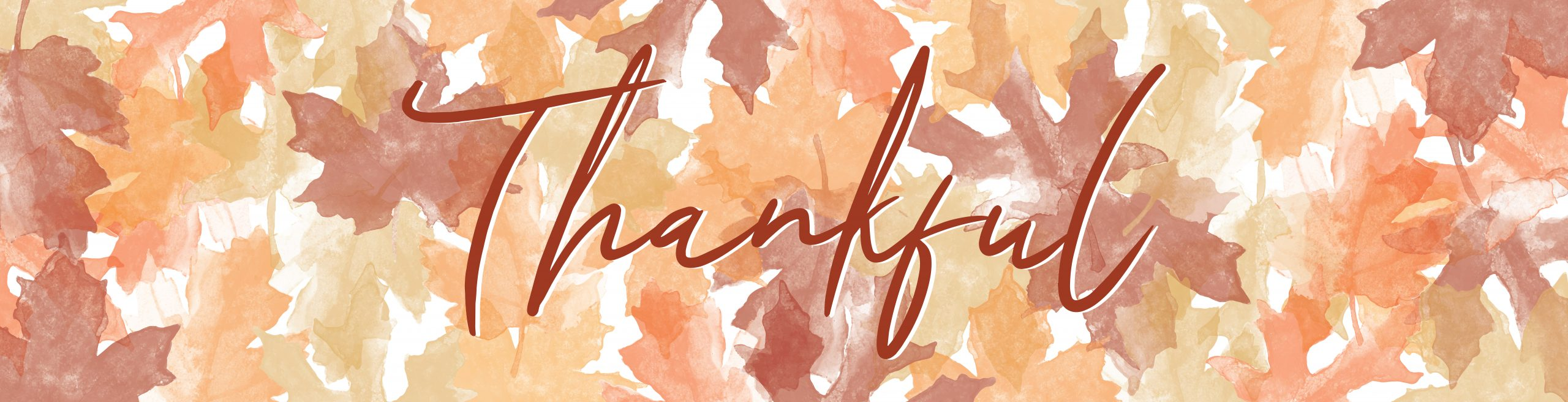 The word Thankful spelled out in Autumn leaves
