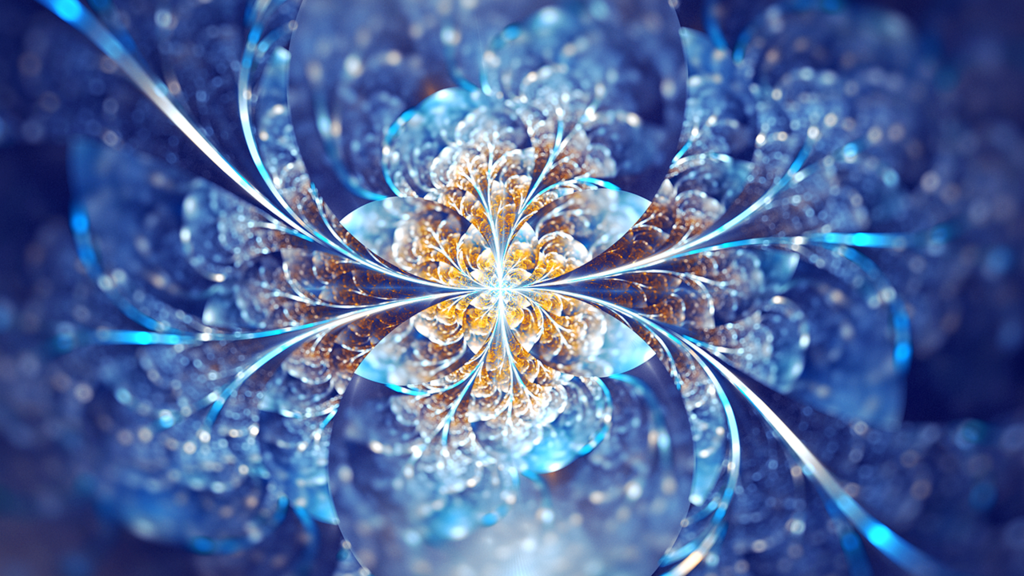 Fractal Snowflake in blues, and silver with a warm center. An abstract image that can represent snow, winter, celebration.